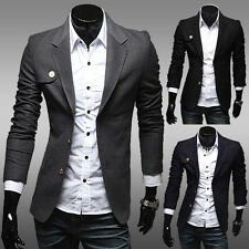 Men's Solid Color Slim Chinese Tunic Suit Blazer Casual Two Button Jackets Coat