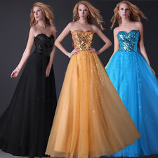 Bridesmaid Evening Empire Wiast Shining Sequins Tulle Long Wedding Party Dress