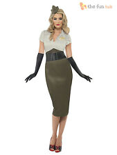 Womens Ladies Army WW2 1940s Military Fancy Dress Costume Outfit Size 8 - 16
