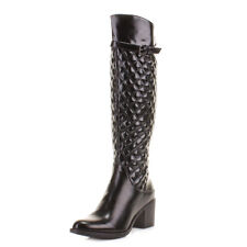 WOMENS BLACK HEEL QUILTED KNEE HIGH LADIES LEATHER STYLE HEELED BOOTS SIZE 3-8