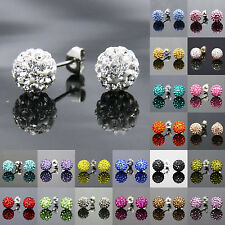 10mm Girls Sparkle Round Crystal Disco Ball CZ Beads Stud Earring For Gift