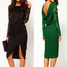 Sexy Women Lady Backless Lace Embroidery Flower Split Front Cocktail Party Dress