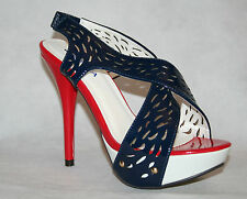 Women's Stunning High Heels in Blue, Red Heels sz 37, 38 UK 4, 5