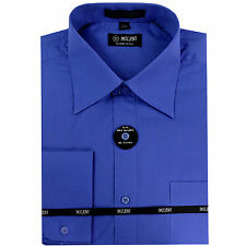 New Milani Men's french cuff dress shirt cotton blend long sleeve French blue