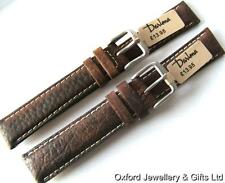 DARLENA WOODLAND CALF WATER RESISTANT LEATHER WATCH STRAP 16mm or 18mm DK BROWN