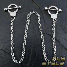 NIPPLE SHIELD BODY PIERCING HANDCUFF CHAIN SURGICAL STEEL bdsm domina ring goth
