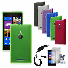 Transp Matte TPU Rubber Gel Case Cover+Protector+Car Charger for Nokia Lumia 925