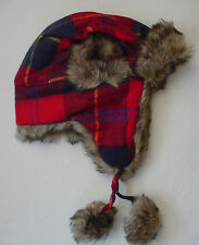 NWT New Abercrombie Fitch Flannel Trapper Winter Hat Navy Blue Red Fur Lined Men
