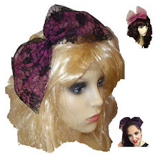 80s Alice Band, 80s fancy dress, lace bow tulle bow - Hen Party,  Black & Pink