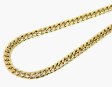 Mens 10K Yellow Gold Semi Hallow 8 MM Miami Cuban Link Franco Necklace Chain