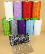 """6"""" ORGANZA GLITTER STRIPES 25 YARDS Roll CHOOSE From 10 COLORS"""