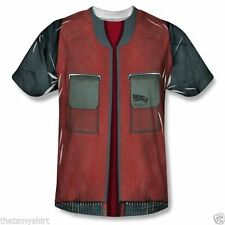 New Authentic Mens Back to the Future Jacket Sublimation Print Tee Shirt