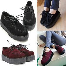 Women Lace Up High Goth Punk Checker Platform Flats Ankle Creeper Shoes Boots