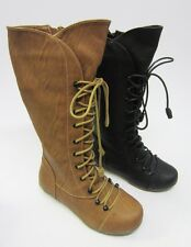 Knee High Lace Up Boots for Girls Available in 2 Colours H5075