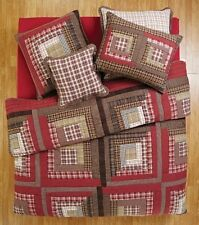 TACOMA PRIMITIVE PATCHWORK COTTON RED QUEEN CAL KING QUILT BEDDING VHC BRANDS