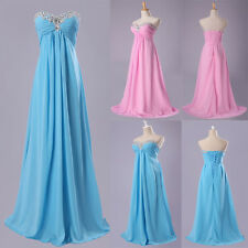 Sexy Ladies Beaded Long Bridal Bridesmaid Formal Party Gown Evening Prom Dresses