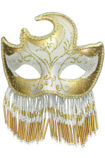 Carnival Crescent Glitter Designs with Beads Masquerade Mask (Gold)