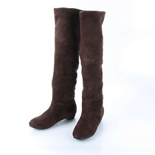 Flat Heel Women Suede Slouch Thigh High Shoes Over The Knee Casual Winter Boots
