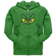 Dr. Seuss - Mens Grinch Face Zip Hoodie