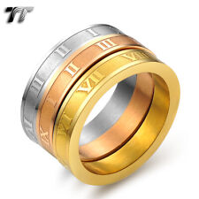 TT Stainless Steel Triple Engraved Roma Number Band Ring (R287)