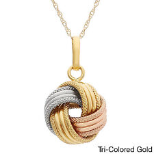 Gioelli 14k Gold Textured Large Love Knot Necklace