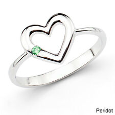 Sterling Silver Round Gemstone Open Heart Ring