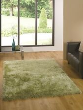 Light Green Glossy Shag Pile Rug Thick Superior Quality Affordable Non Shed Mats