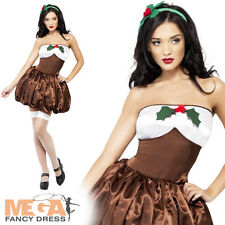 Saucy Christmas Pudding Ladies Fancy Dress Party Food Costume Adult Outfit 8-16