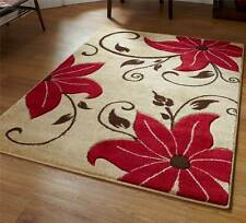 Beige and Red Rug Stunning Floral Flower Pattern Large Rug Heavy Domestic