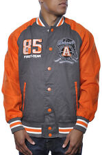 Smoke Rise Premium Royal Elite Leader Varsity Letterman Patch Jacket Grey