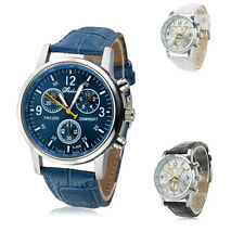 Quartz Analog Watch Wristwatch Timepiece with PU Leather Band Black Blue White