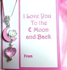 """I Love you to the Moon and Back"" Necklace Enamel Hello Kitty Crystal Heart"