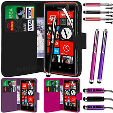 PU Leather Wallet Case Cover, LCD Film & 3 Stylus Pen Set for Nokia Lumia 720