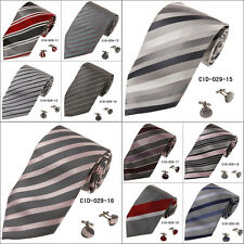 CID-029 Grey Classic Striped Mens Ties Xmas Gift for Husband By Y&G