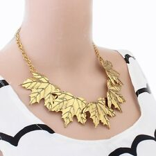 Fashion Women Metal Maple Leaf Bib Necklaces Occident Layers Leaves Fake Collar