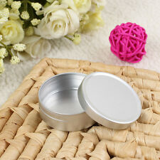 Empty Cosmetic Pots Case Lip Balm Container Jar Tins Silver Aluminum 10ml 20ml