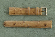 16 17 18 19 20mm TAN GENUINE OSTRICH Wrist Watchband Strap Bands Band Made USA
