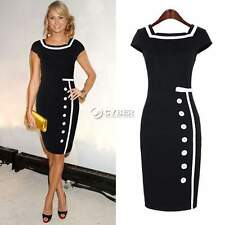 Women's Black White Sailor Nautical Pinup Rockabilly Vintage Retro Pencil Dress