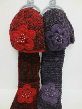HAND MADE HAT & SCARF SETS FLOWER DETAIL WITH DIAMANTE TRIM IN 2 COLOURS 90549