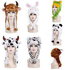 Fancy Dress Women Mens Winter Cute Animal Plush Soft Warm Cap Hat Earmuff Scarf