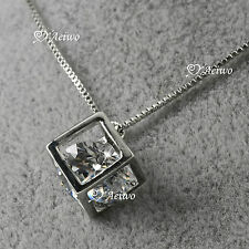 18K GOLD GF GENUINE SWAROVSKI CRYSTAL BOX PENDANT NECKLACE