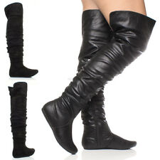 WOMENS LADIES FLAT OVER THE KNEE THIGH ZIP FOLD CUFF RUCHED HIGH BOOTS SIZE