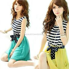 Hot Women Chiffon Stripe Mini Dress Sleeveless Scoop Neck Splicing Vest Dress EN