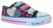 Skechers Triple Time Girl's Denim Heart Twinkle Toes Canvas Sequin Shoes New