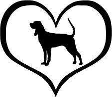 """Black & Tan Coonhound Heart - 4.3"""" x 3.75"""" - Choose Color - Decal Sticker #1427"""