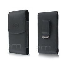 Vertical Black Leather Case Pouch Clip Fits With Extended Battery on the phone