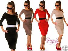 Stylish Bodycon Knee Length Dress Stretch Ruched Sides 8-18 24h Dispatch 989