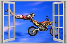 Huge 3D Window Scrambling MX Motor Cross View Wall Stickers Art Decal Wallpaper