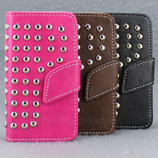 Luxury Studded Flip Leather Stand Wallet Pouch Skin Case Cover For iPhone 4G 4S