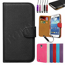 Genuine Real Leather Wallet Flip Case Cover For SAMSUNG Galaxy S4 Mini i9190